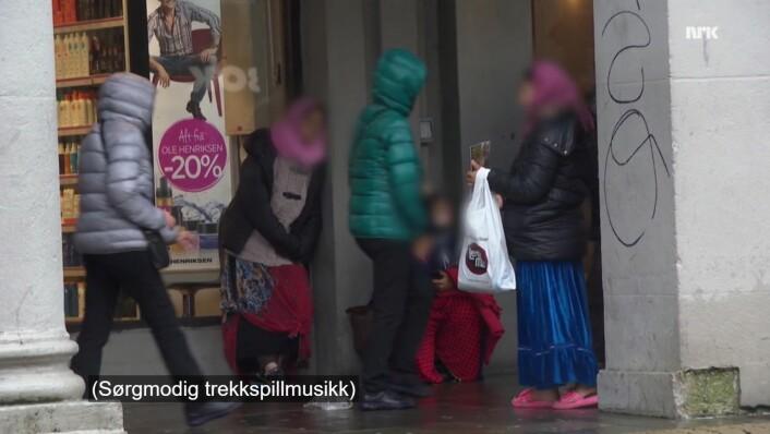 Anonymiserte tiggere fra NRK Brennpunkts dokumentar, Lykkelandet. Skjermbilde: NRK Brennpunkt