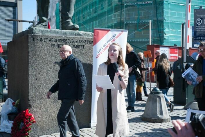 Leder i AUF i Oslo, Agnes Viljugrein, mener ungdom stenges ute fra boligmarkedet i hovedstaden. Foto: Anna Carlsson