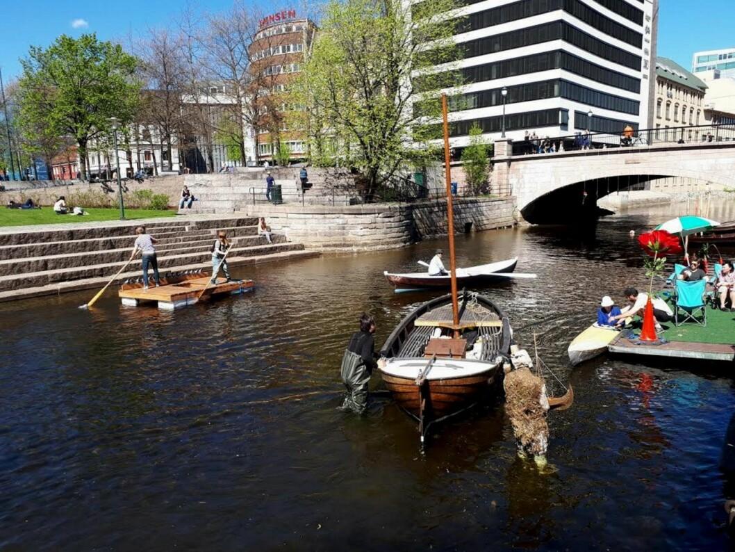 Lørdag åpnet Akerselva Trebåtforenings nye trebåthavn i Bjørvika. Foto: Christian Boger