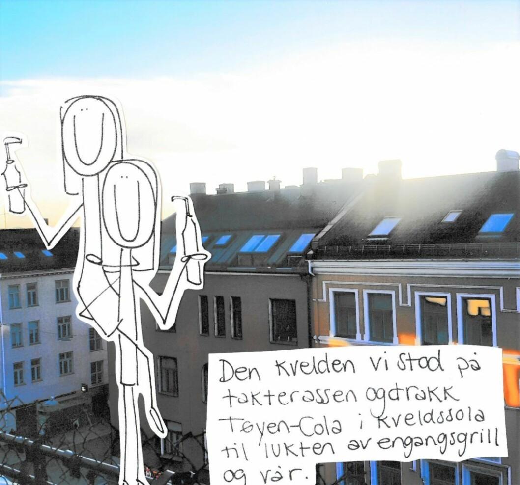 Den dagen vi sto på takterrassen og drakk Tøyen-cola i kveldssola til lukten av engangsgrill og vår. Illustrasjon: Amanda Carlson