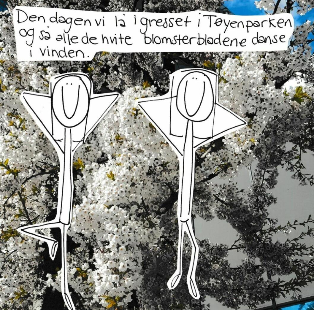 Den dagen vi lå i gresset i Tøyenparken... Illustrasjon: Amanda Carlson