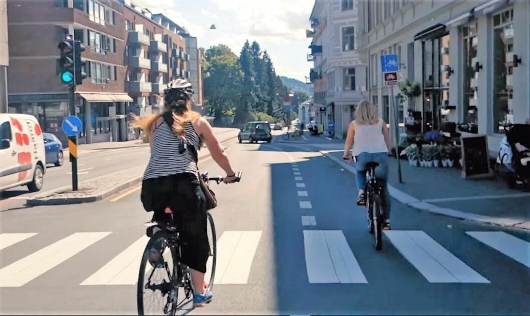 Syklister på St. Hanshaugen. Foto: Sykkelprosjektet / Youtube