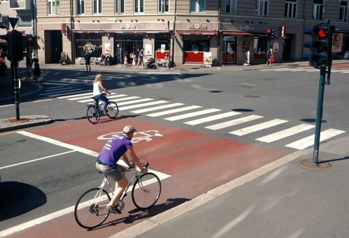 Syklister på St. Hanshaugen i Oslo. Foto: Sykkelprosjektet / Youtube