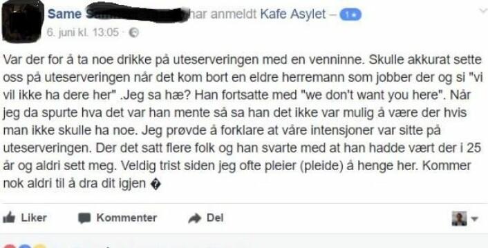 Her er Sames kommentar på Kafé Asylets Facebook-side, som nå er stengt. Skjermbilde