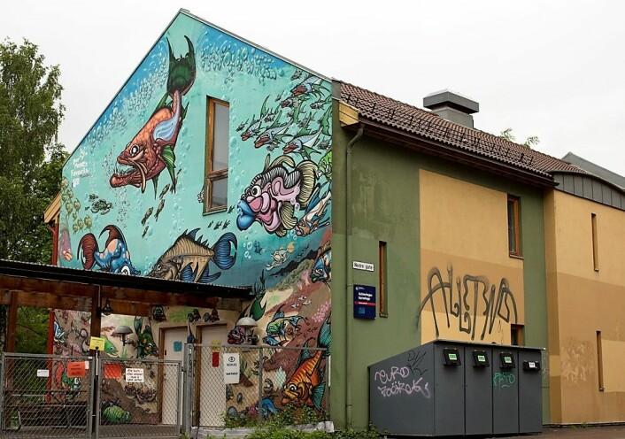 Fiskene på Grünerhagen barnehage ved Akerselva, av Your Mamas Favourite. Foto: Merethe Ruud