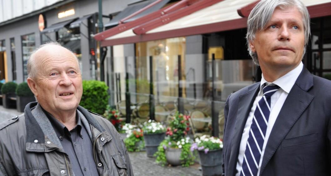 Venstres Odd Einar Dørum (t.v) og Ola Elvestuen  vil ha stortingsflertallet med på nasjonalt fotoboks-forsøk utenfor flere Oslo-skoler. Målet er å legge press på det rødgrønne byrådet som ikke har fulgt opp bystyrevedtak om fotoboks utenfor Ruseløkka skole. Foto: Arnsten Linstad