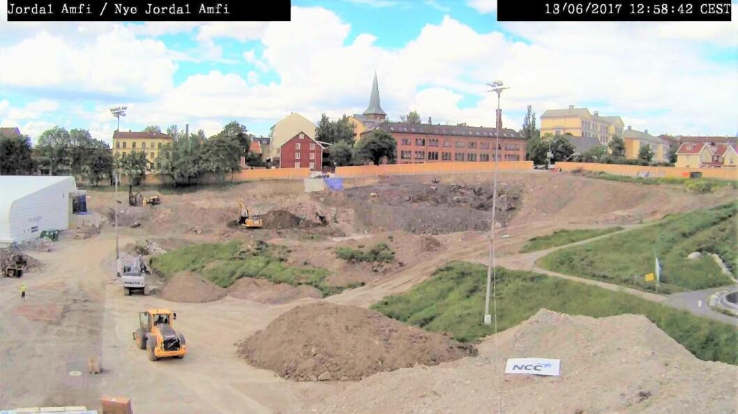 Slik ser det ut på Jordal-tomta i dag. Skjermbilde fra webkamera: NCC