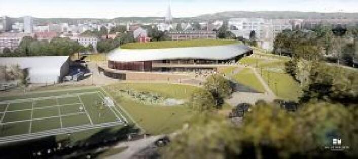 Slik skal nye Jordal Amfi se ut når den står ferdig i mai 2020. Illustrasjon: Hille Melbye Arkitekter/ Kultur- og idrettsbygg Oslo KF