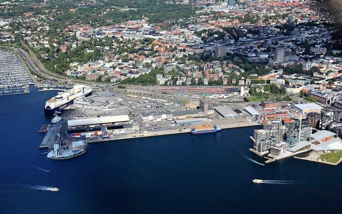 Flyfoto fra 2014 av Hjortnes, Filipstad og Tjuvholmen. Foto: Harald M. Valderhaug':