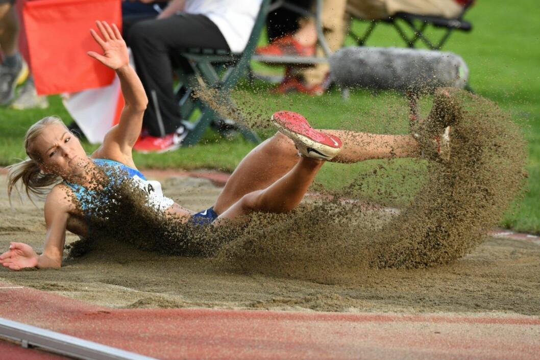 Darya Klishina endte på 2. plass med et bestesprang på 6, 75 meter. Foto: Willy Larsen