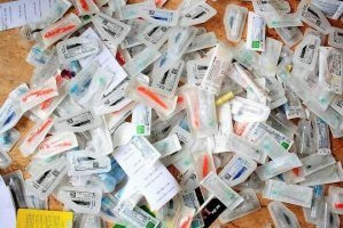 Sprøyter på kontoret til Foreningen for Human Narkotikapolitikk. Foto: Anna Maria Simonsen