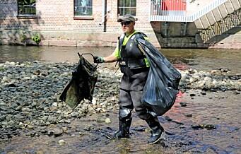 Plastrusken fant 20 kilo plastposer på 655 meter av Akerselva