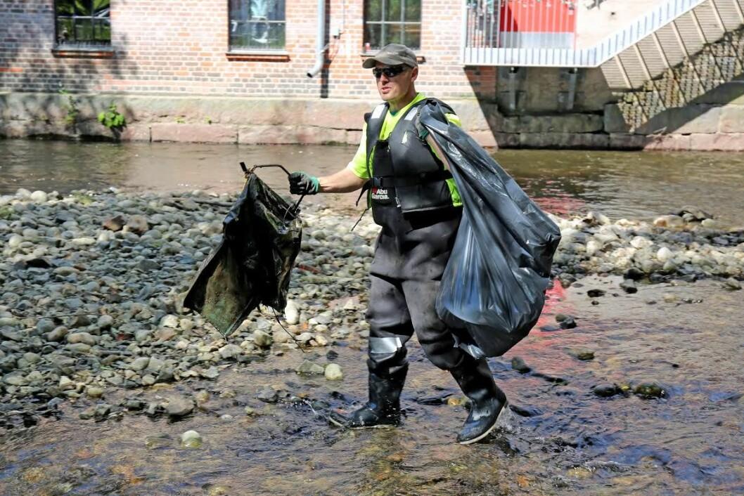 Plastrusken ryddet i Akerselva og fant forstemmende mye plast. Foto: Elisabeth Tobiassen Faane