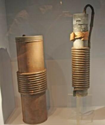 «Helvetesmaskiner» som ble støpt inn i kullbiter og blandet i skipenes kullbunkers. Bildet er tatt på utstillingen Torpedert på Norsk Maritimt Museum. Foto: Hans Magnus Borge