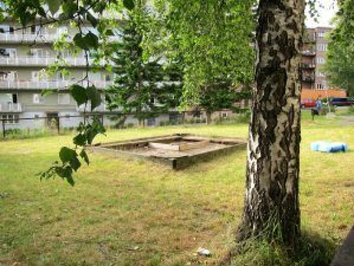 – Lekeplassen i Rødstuveien kunne trengt flere lekeapparater, mener Endre Midtstigen. Foto: Susanne Skaug