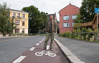 Endelig står sykkelfeltet i St. Hallvards gate ferdig