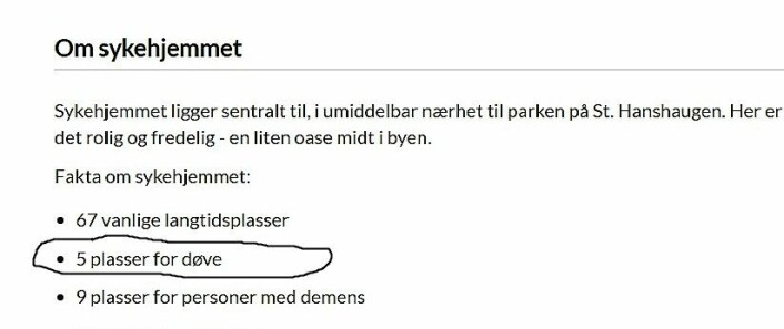 Antallet plasser for døve på St. Hanshaugen omsorgssenter er nå rettet opp fra ni til fem på sykehjemsetatens hjemmesider. Foto: Skjermdump fra sykehjemsetatens hjemmesider.