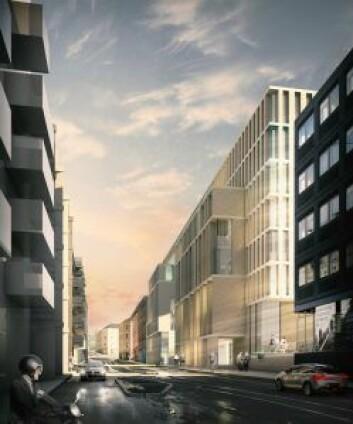 Slik ser arkitektene for seg bygget i Schweigaards gate. Naboene mener at det blir stående som en mørk mastodont på kveldstid og i helgene. Illustrasjon: Kristin Jarmund Arkitekter