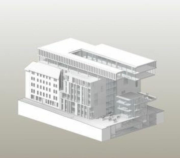 Slik ser utbyggerne for seg at bygget på busstomta i Schweigaards gate skal se ut når prosjektet står ferdig. Illustrasjon: Kristin Jarmund Arkitekter