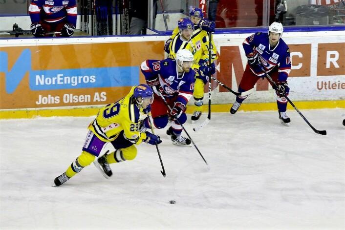 Oppgjøret mellom VIF hockey og Storhamar er et klassisk storoppgjør. Her fra i fjor. Foto: Atle Enersen