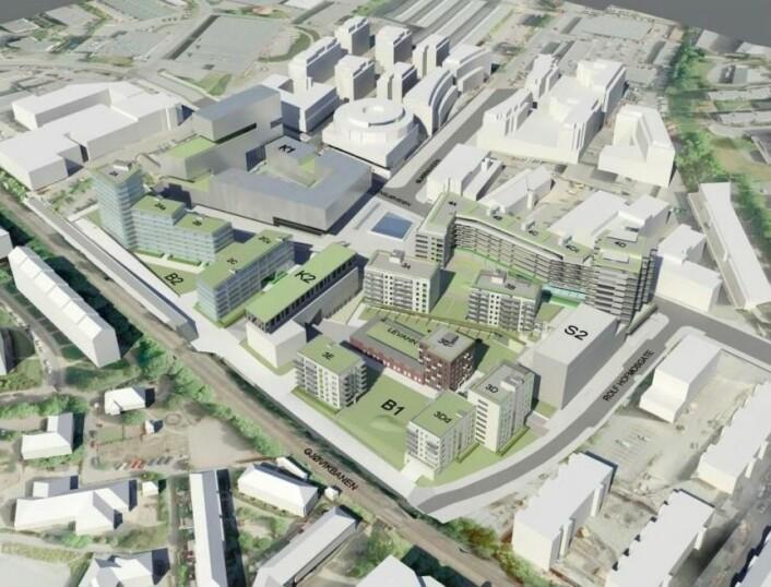 Skanskas forslag. Levahn mekaniske verksted er murbygget i midten. Foto: Skanska