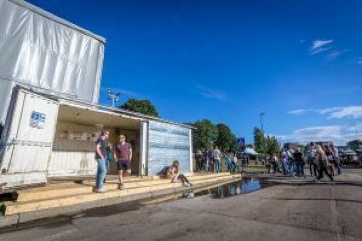 Containeren til Norsk Gjenvinning har fått nytt liv. Foto: Øyafestivalen