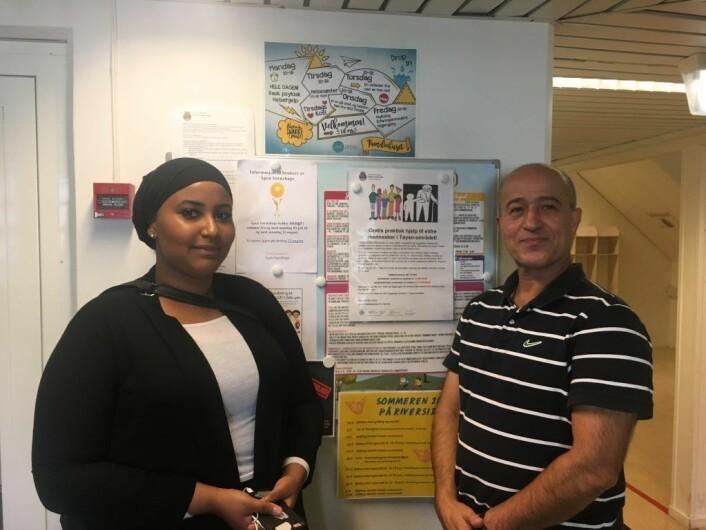 Majid Ziraksaz og Iman Belgasim synes begge det er givende å jobbe med prosjektet. Foto: Live Drønen