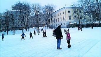 Slik så det ut på Klosterenga da det var is der.