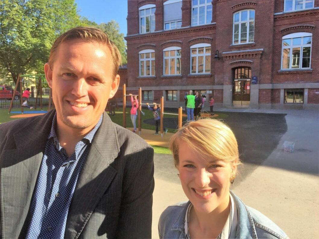 Pål Nesse og Kari Elisabeth Kaski er begge glade for resultatene fra gratis aktivitetsskole. Foto: Vegard Velle