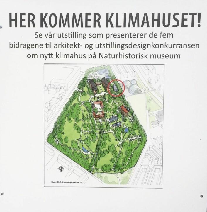 Her, i Botanisk Hage, vil Klimahuset ligge. Foto: Vegard Velle