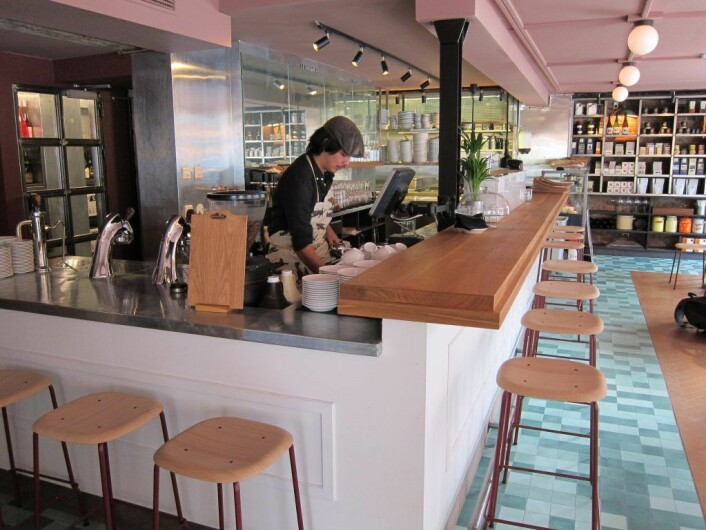 Kaffebaren i første etasje, Brugata Landhandleri. Foto: Susanne Skaug/VårtOslo