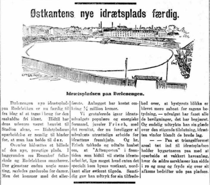 """Historisk avisutklipp fra åpningen av """"Østkantens nye idrettsplads"""". Foto: Torgny Hasås"""