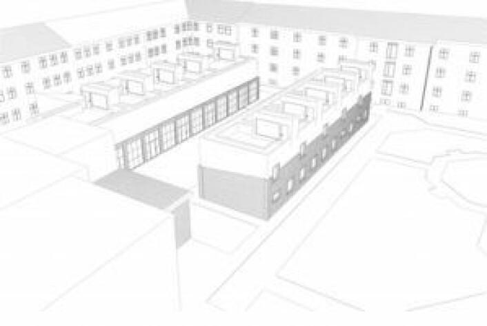En av Merkantilbyggs tegninger av de foreslåtte lavblokkene. Første etasje (mørkere) er dagens garasjer. Passasjen til venstre, fra den nærmeste blokken til blokken bak, huser i dag en garasje som tilhører et annet sameie. Veien foran den nærmeste blokken huser i dag en lekeplass og sykkelparkering, på et område som også tilhører sameier, ifølge Janne Håkonsen og Henning Strøm.