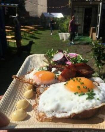 Et av måltidene som har vært en slager hos foodtrucken Frævleik på Prindsen. Egg, bacon og kantareller. Foto: Privat