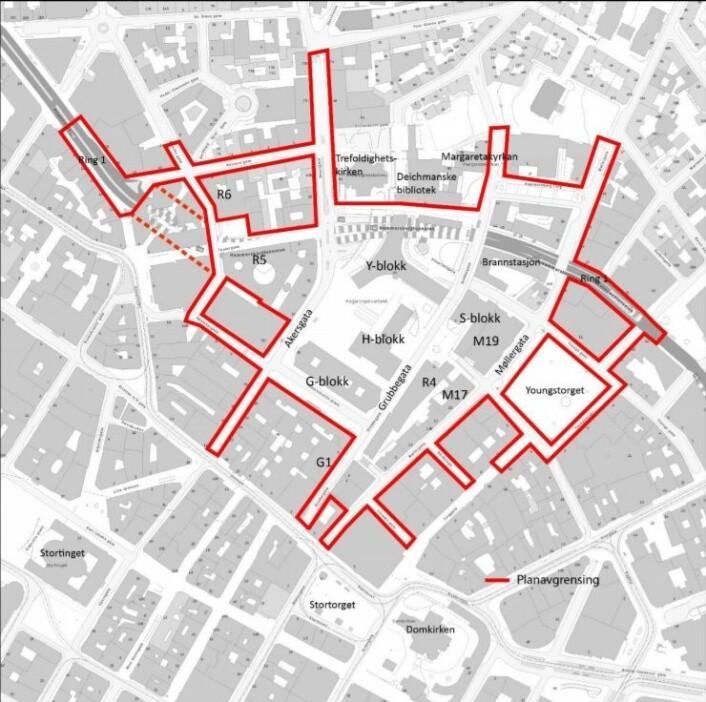 Området innenfor de røde strekene viser sikkerhetsområdet til det nye regjeringskvartalet. Illustrasjon: Statsbygg