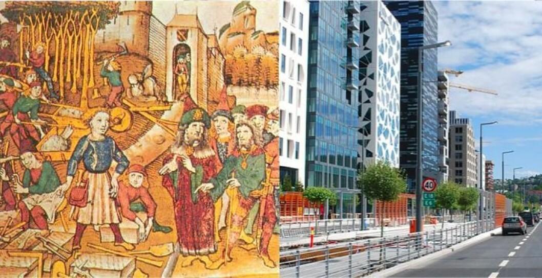 Fra middelalderdronning til hovedgate i Barcode. (Illustrasjonsbilde, til venstre: Byggeplass under høymiddelalderen, Foto: Wikipedia. Til høyre: Dronning eufemias gate. Foto: Helge Høifødt/Wikipedia)