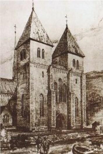 En rekonstruksjon av Mariakirken i Oslo gjort av Harald Sund (1876–1940). Foto: Wikipedia