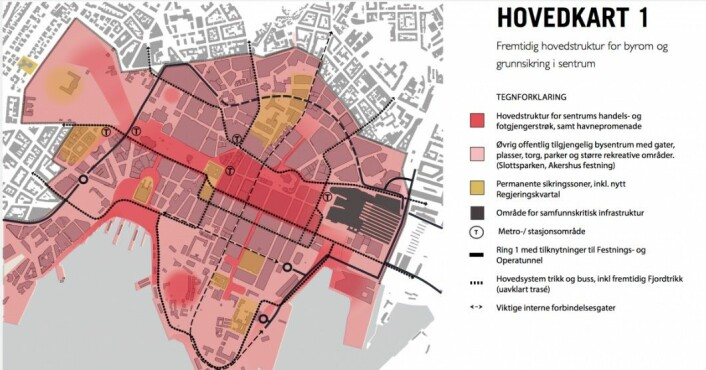 Slik vil sikringen i Oslo sentrum fortone seg i framtiden. Illustrasjon: Plan- og bygningsetaten, Oslo kommune