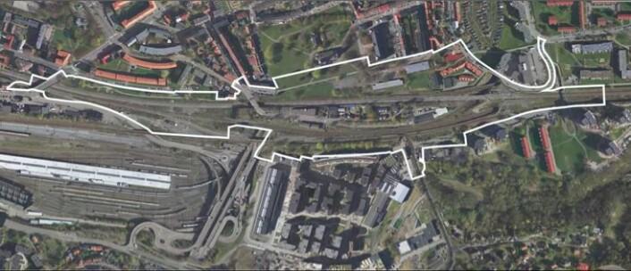 Området Bane NOR mener vil berøres av anleggsarbeidet. Kværnerbyen nede i midten. Området ved Enebakkveien er i midten av det utsatte området. Foto: Bane NOR