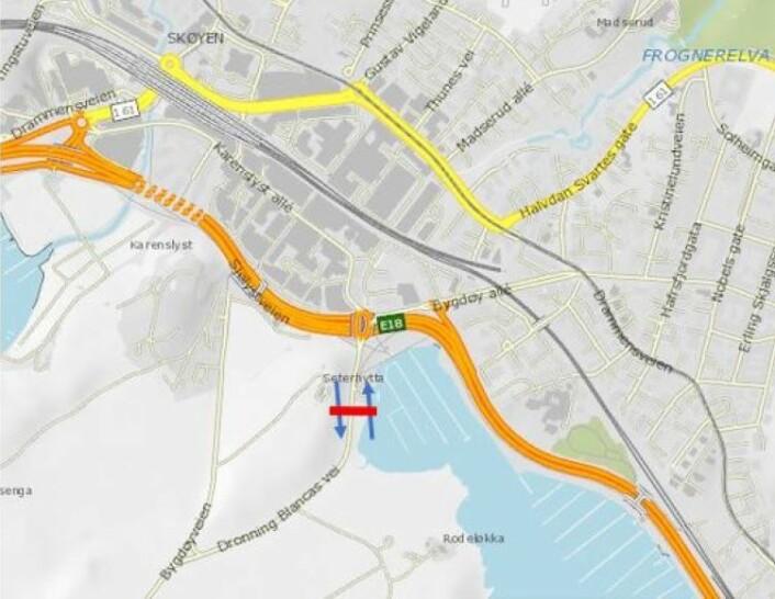 Foreslått bomstasjon på Bydøy. Illustrasjon: Statens vegvesen