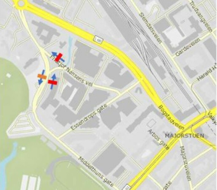 Foreslått bomstasjon i Middelthunsgate utgående. Illustrasjon: Statens vegvesen