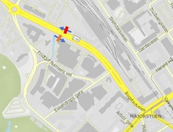 Foreslått bomstasjon i Sørkedalsveien ved Colosseum kino. Illustrasjon: Statens vegvesen