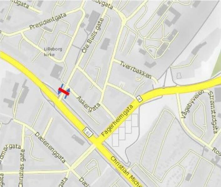 Foreslått bomstasjon i Ole Bulls gate. Illustrasjon: Statens vegvesen