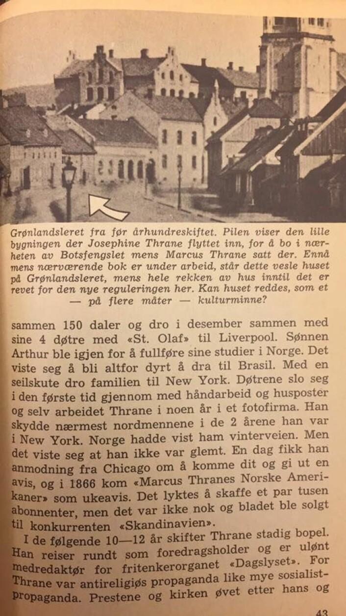 """Et historisk bilde av Grønlandsleiret 28. Fra Aksel Zachariassens """"Fra Marcus Thrane til Martin Tranmæl"""" (1962)."""