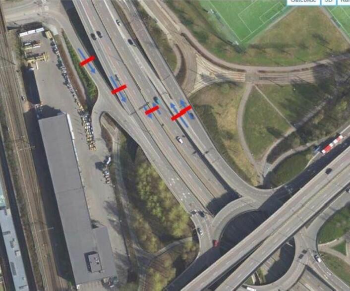 Foreslåtte bomstasjoner i Sinsenkrysset. Foto og illustrasjon: Statens vegvesen