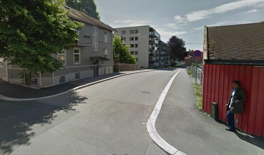 Her er i Jørgen Løvlands gate kommer det sannsynligvis en bomstasjon i 2019. Foto: Google Maps