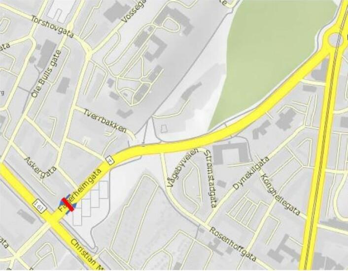 Foreslått bomstasjon i Fagerheimgata. Illustrasjon: Statens vegvesen