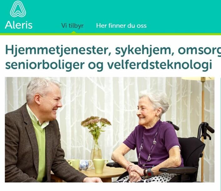 Skjermdump: Aleris hjemmeside
