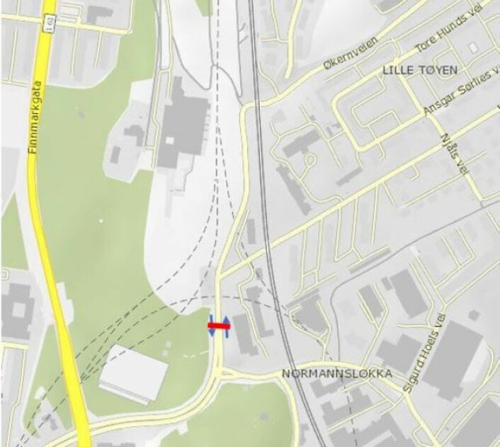 Foreslått bomstasjon i Økernveien. Illustrasjon: Statens vegvesen