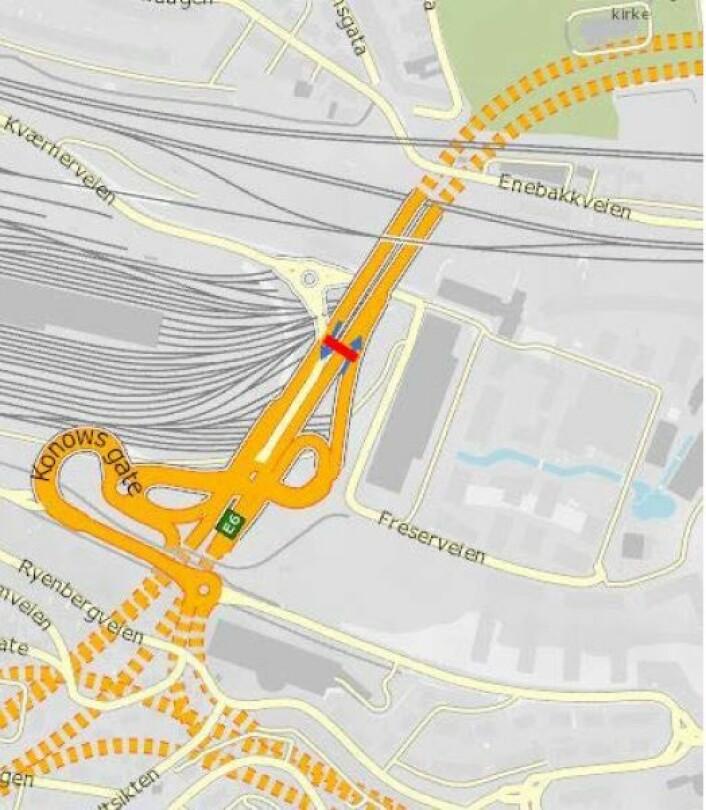 Foreslått bomstasjon i E6 Kværnerveien. Illustrasjon: Statens vegvesen